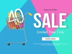 Sale poster design with 40% discount offer and shopping cart illustration full of gift boxes on abstract background.