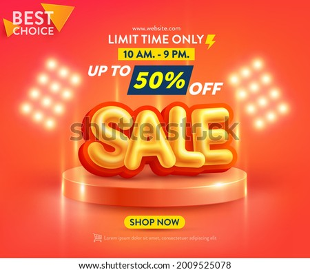 Sale Poster or banner template with blank product podium scene on orange background.Sales banner template design for social media and website. Special Offer Sale 50% Off campaign or promotion.