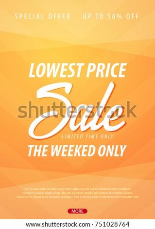 Sale poster or Flyer design. Discount background for the online store, shop, promotional leaflet, poster, banner. Vector illustration #751028764