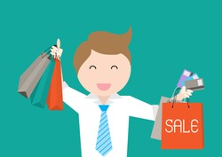 Sale poster with business man Credit Card Holders and shopping bags