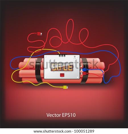 Sale poster with explosives alarm clock, detonator isolated on grey background, vector Eps10 illustration.