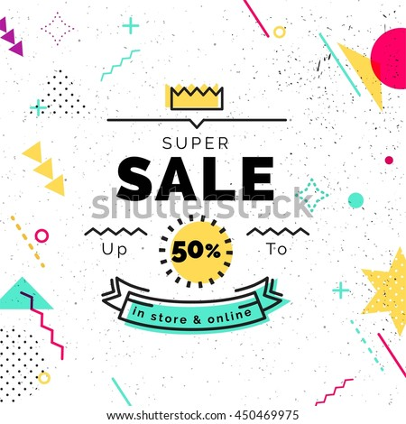 Sale poster with geometric shapes. Super Sale vector illustration. Vector background in retro 80s, 90s memphis style.
