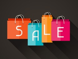 Sale poster with shopping bags in flat design style.