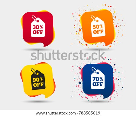 Sale price tag icons. Discount special offer symbols. 30 percent, 50 percent, 70 percent and 90 percent percent off signs. Speech bubbles or chat symbols. Colored elements. Vector