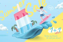 Sale promotion template for icy treats, with cute boy surfing on melting popsicle waves, 3d illustration