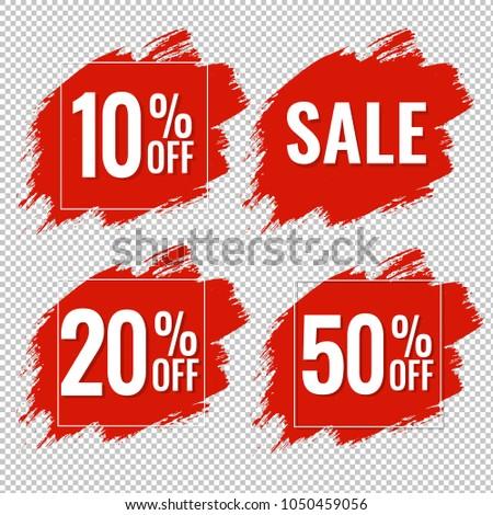 Sale Red Blobs Banner Transparent Background, Vector Illustration