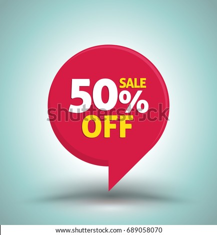 Sale red tag isolated vector illustration. Discount offer price label, symbol for advertising campaign in retail, sale promo marketing, 50% off discount sticker, ad offer on shopping day