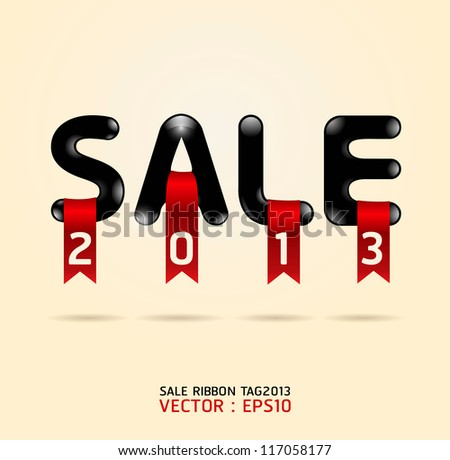 sale ribbon tag 2013 vector