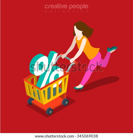 Sale rush flat 3d isometry isometric Black Friday consumerism concept web vector illustration. Woman running with shopping cart and percent sign in it. Creative people collection.