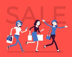 Sale season in the store. Young women running to shop or dealer that sells goods at redu or at lower prices, buyers in a hurry. Vector flat style cartoon illustration isolated on white background