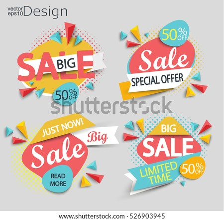 Sale - set of color modern labels with halftone background. Sale and discounts. Vector illustration.