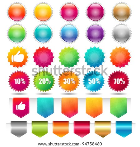 Sale Shopping Badge And Labels, Isolated On White Background, Vector Illustration