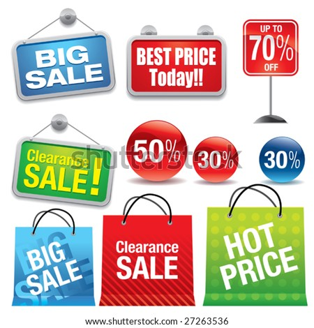 stock vector : Sale shopping bags and signs. Save to a lightbox ▼