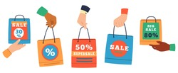 Sale shopping bags. Hands holding paper bags with purchase and discount percentage. Sales Promotion or gifts bags vector illustration set. Shopper pack bag for purchasing, package promotion