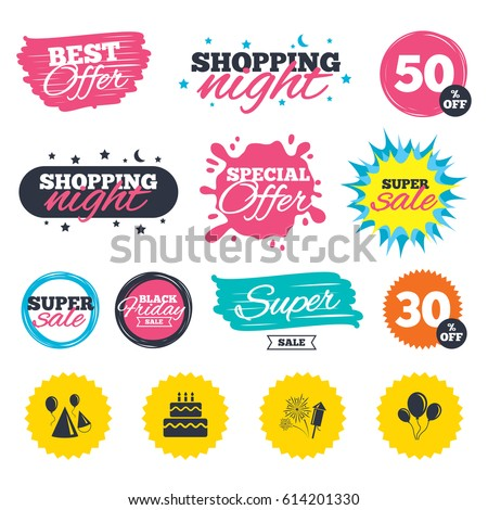 Sale shopping banners. Special offer splash. Birthday party icons. Cake, balloon, hat and muffin signs. Fireworks with rocket symbol. Double decker with candle. Web badges and stickers. Best offer