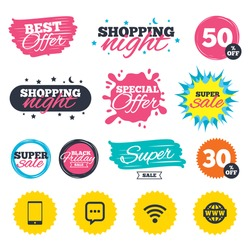 Sale shopping banners. Special offer splash. Communication icons. Smartphone and chat speech bubble symbols. Wifi and internet globe signs. Web badges and stickers. Best offer. Vector