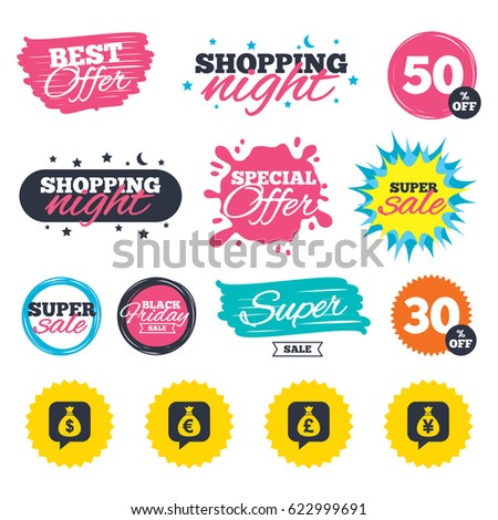 Sale shopping banners. Special offer splash. Money bag icons. Dollar, Euro, Pound and Yen speech bubbles symbols. USD, EUR, GBP and JPY currency signs. Web badges and stickers. Best offer. Vector