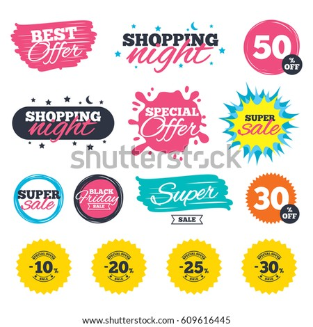 Sale shopping banners. Special offer splash. Sale discount icons. Special offer stamp price signs. 10, 20, 25 and 30 percent off reduction symbols. Web badges and stickers. Best offer. Vector