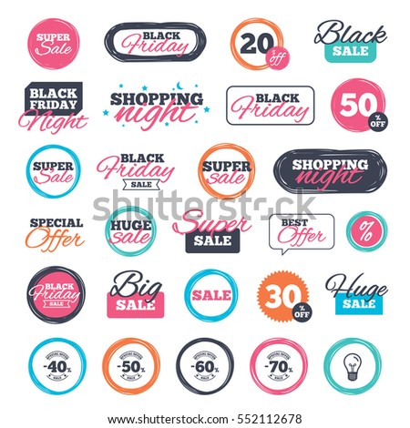 Sale shopping stickers and banners. Sale discount icons. Special offer stamp price signs. 40, 50, 60 and 70 percent off reduction symbols. Website badges. Black friday. Vector
