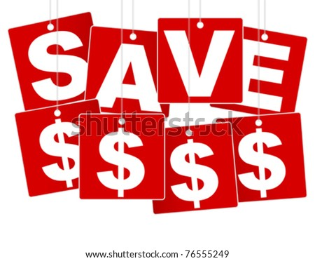 Sale Sign - White Save Money Sign on Red Background