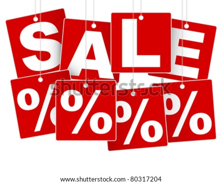 Sale Sign - White Save % on Red Background - stock vector