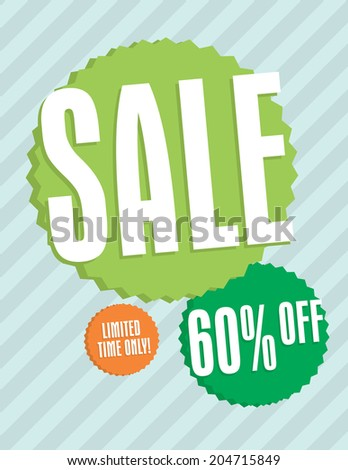 Sale sign with star burst and strips 60% off