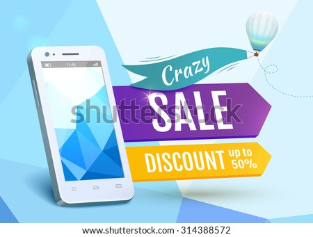 Sale Smartphone, poster design. Vector illustration EPS 10