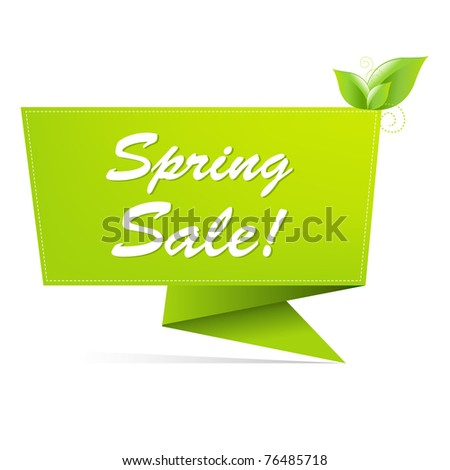 Sale Spring Banner, Isolated On White Background, Vector Illustration