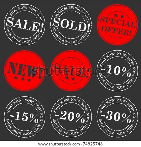 Sale stamp vector set