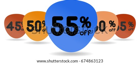 sale sticker 45 50 55 60 65% off set. Template design colored tag with realistic shadow. High quality vector illustration. Paper modern  flyer stock promo fashion best store web idea