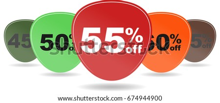 sale sticker 45 50 55 60 65...