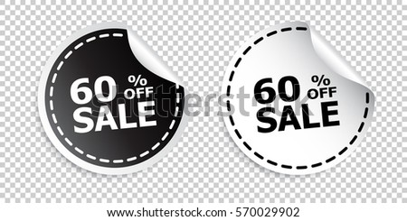 Sale sticker. Sale up to 60 percents. Black and white vector illustration. #570029902