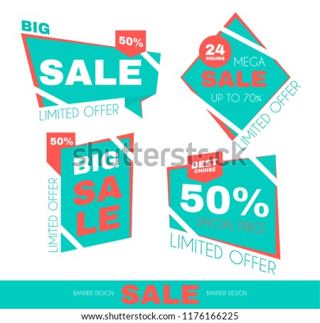 Sale Sticker Set. Special Offer Discount Collection. Promotion Tags. Vector illustration