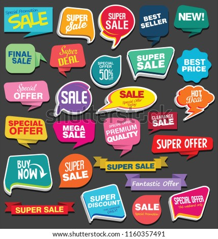 Sale stickers and tags colorful collection vector illustration  #1160357491