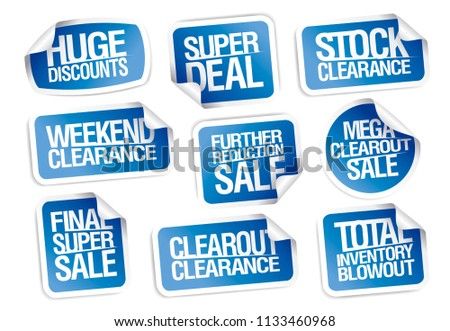 Sale stickers collection - huge discounts, super deal, clearance, weekend offers