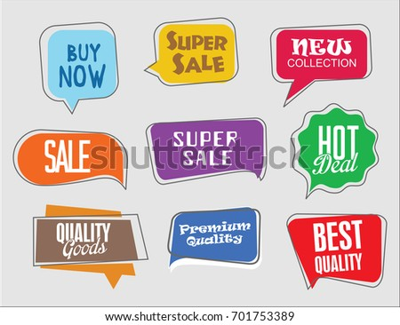 Sale stickers modern design collection vector