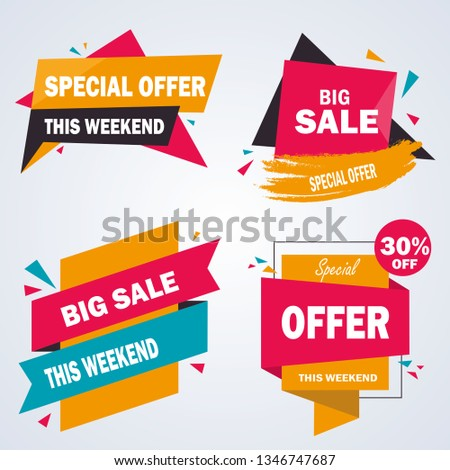 Sale stickers. Price tag label. Banner sticker or abstract flyer. Graphic for offer labels design template vector. Sale stickers. Price tag label. Banner sticker #1346747687