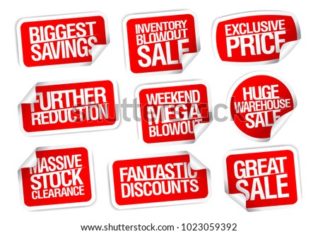 Sale stickers set - further reductions, biggest savings, great sale, etc. #1023059392