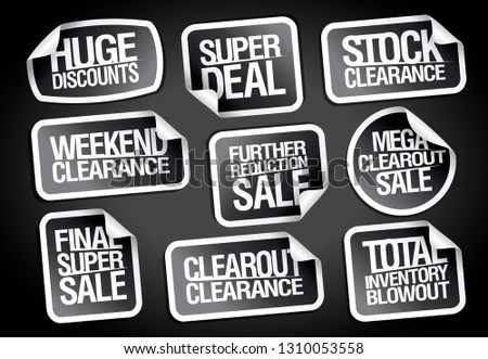 Sale stickers set - huge discounts, super deal, stock clearance, weekend clearance etc., vector pack