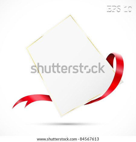 Sale tag. Clear tag with red ribbon.Vector illustration