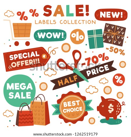 Sale tag collection. Collection of discount stickers: Half price, Special offer, New, Best choise etc,