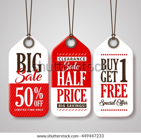 Sale Tag Design Collection Made of Paper with Different Titles for Promotion and Discounts. Vector Illustration.