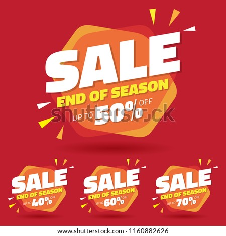 Sale Tag Marketing Retail Element Design with Multiple Discount Set - Vector #1160882626