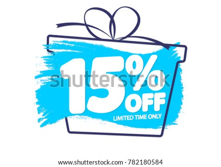 Sale tag 15% off, banner design template, discount app icon, vector illustration