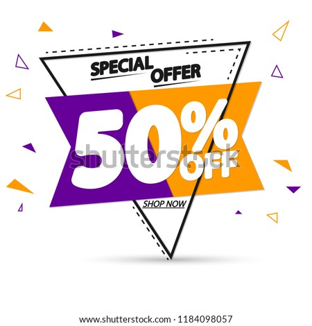 Sale tag 50% off, promotion banner design template, special offer, app icon, vector illustration