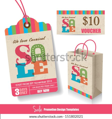 Sale Tag Paper Bag & Voucher Design Templates