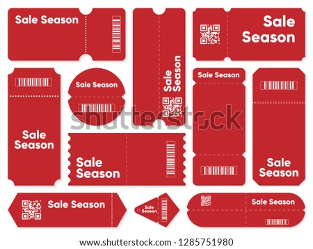 Sale tag. Red sale season set of vector tag barcodes with QR code. Minimal sale banner template in red color. Blank coupon card for discount offer midseason sale