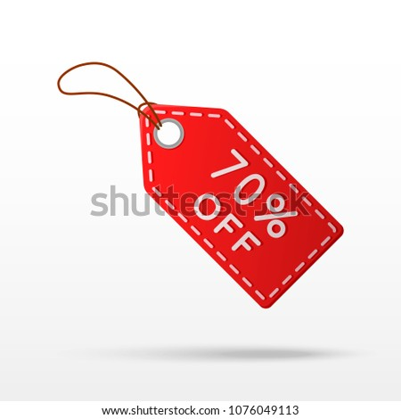 Sale tag with 70% discount isolated on white background.  70% off sale sign. Vector illustration.