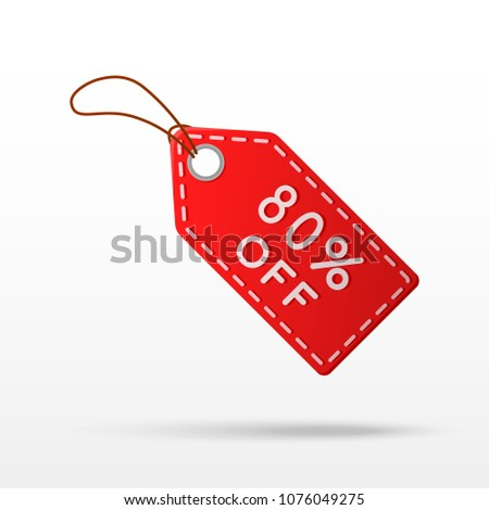 Sale tag with 80% discount isolated on white background.  80% off sale sign. Vector illustration.