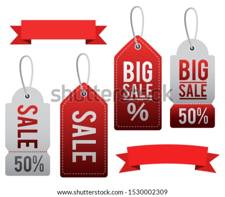 Sale tags and ribbons collection. Vector collection.